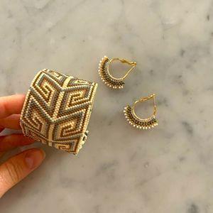 BOHO handmade beaded bracelet and earrings set